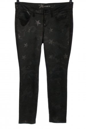 Cambio Stoffhose schwarz-silberfarben Allover-Druck Casual-Look