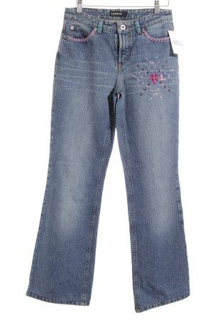 Cambio Jeansy z prostymi nogawkami Wielokolorowy Logo wykonane ze skóry