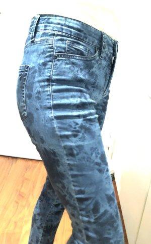 CAMBIO Stretch-Jeans mit Batikmuster