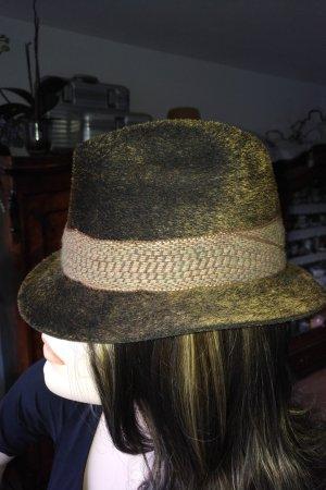 Cambridge Wełniany kapelusz brązowy-leśna zieleń Wełna