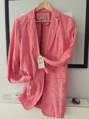 Camel Active Blazer stile Boyfriend rosa-arancione Lino