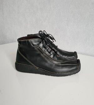 Camel Active Leder Booties Ankle Boots Stiefelette Schnürschuhe 5 / 38 schwarz