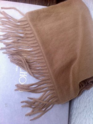 Hess Natur Fringed Scarf light brown-camel wool