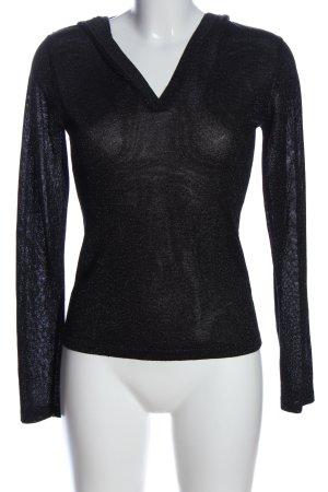 Camera Połyskująca bluzka czarny W stylu casual