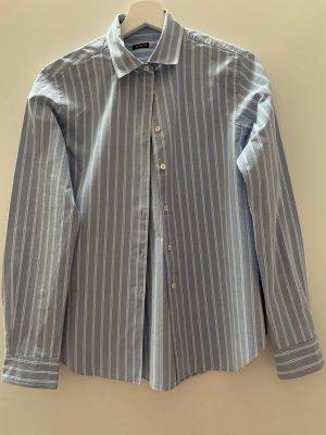 Alberto Aspesi Chemise à manches longues blanc cassé-bleu azur