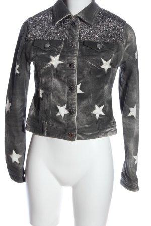 Camouflage Couture Veste en jean gris clair imprimé avec thème