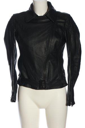 Camouflage Couture Veste en cuir noir imprimé avec thème style décontracté