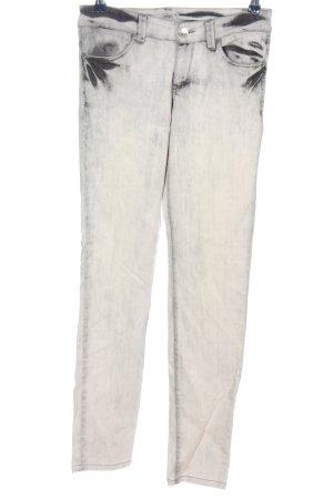 Camouflage Couture Jeans cigarette blanc-gris clair style décontracté