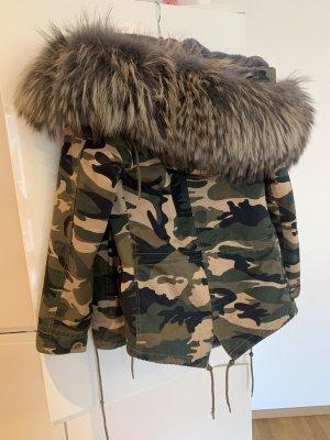 Camouflage Echtfell Winterjacke