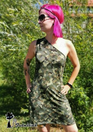 Julnicat Vestido de un hombro multicolor Viscosa