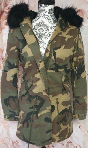Camouflage Mantel mit Kapuze warm Fakefur!!