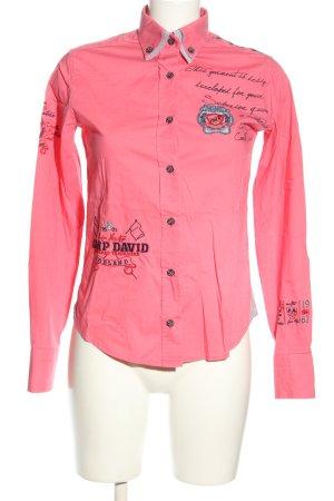 Camp David Camicia a maniche lunghe rosa-grigio chiaro caratteri stampati