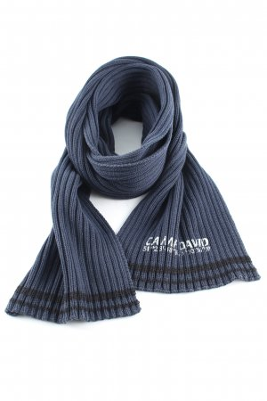 Camp David Knitted Scarf blue printed lettering casual look