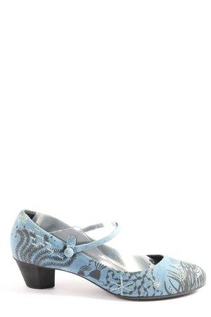 Camper Escarpins Mary Jane bleu-gris clair imprimé avec thème