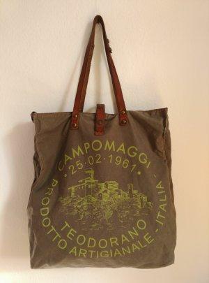 Campomaggi Canvas Leder Tasche Shopper GROß Schultertasche Umhängetasche Kakhi grün