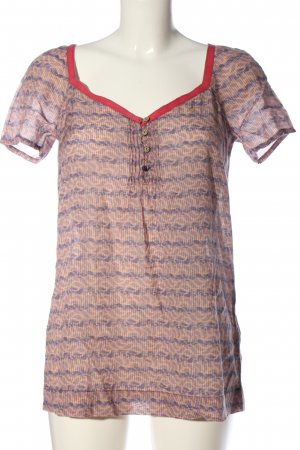 Campus by Marc O'Polo Kurzarm-Bluse braun-rot grafisches Muster Casual-Look