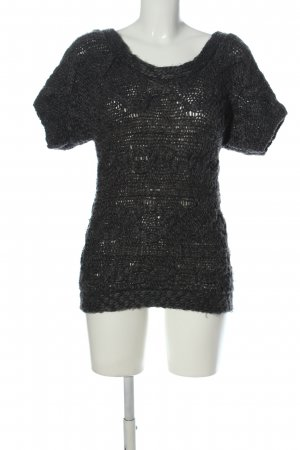 Campus by Marco Polo Short Sleeve Sweater black cable stitch casual look