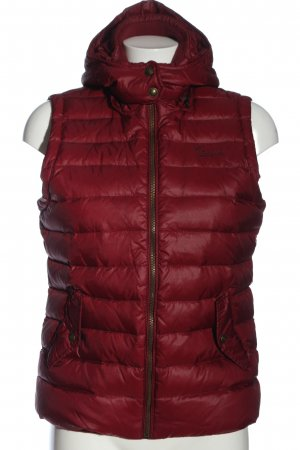 Campus Hooded Vest red printed lettering casual look