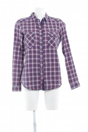 Campus Langarmhemd dunkelviolett-dunkelorange Karomuster Casual-Look