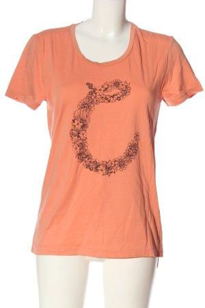 Campus Print-Shirt hellorange-schwarz Blumenmuster Casual-Look