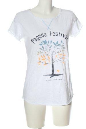Campus Print-Shirt weiß-blau Motivdruck Casual-Look