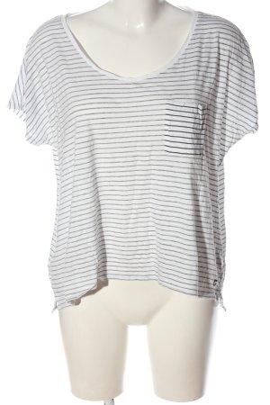 Campus Koszulka w paski biały-czarny Wzór w paski W stylu casual
