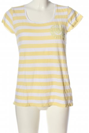 Campus Geribd shirt sleutelbloem-wit gestreept patroon casual uitstraling