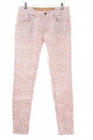 Campus Röhrenhose pink-creme Blumenmuster Jeans-Optik