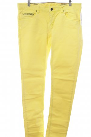 Campus Slim Jeans gelb-dunkelgrau Hahnentrittmuster Casual-Look