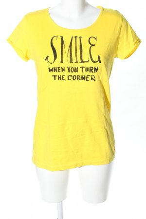 Campus T-Shirt blassgelb-schwarz Schriftzug gedruckt Casual-Look