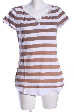 Campus T-shirt biały-brązowy Wzór w paski W stylu casual
