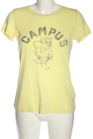 Campus T-shirt bladożółty-jasnoszary Nadruk z motywem W stylu casual