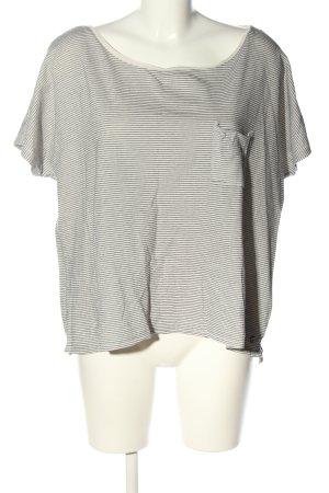 Campus T-Shirt schwarz-weiß Streifenmuster Casual-Look