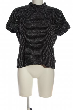 CANADA Short Sleeved Blouse black-silver-colored striped pattern casual look