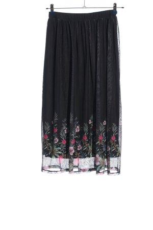 CANADA Maxi Skirt black-pink flower pattern elegant
