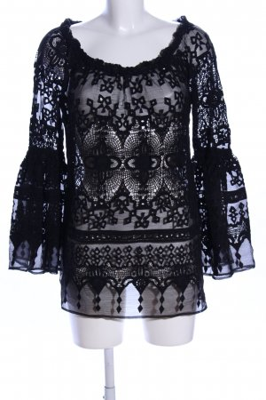 Canal + Bowery Transparent Blouse black abstract pattern casual look