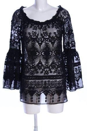 Canal + Bowery Blusa trasparente nero motivo astratto stile casual