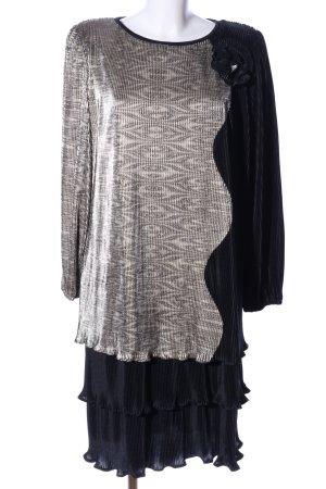Canda Abendkleid schwarz-silberfarben grafisches Muster Elegant
