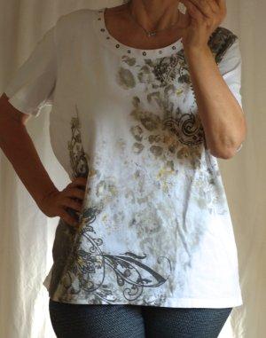 Canda by C&A T-Shirt, Print, weiß mit Print in braun/taupe, gold, Nieten, Rundhals, Ornament Druck, 95% Cotton, 5% Elasthane, TOP Zustand, Gr. 46