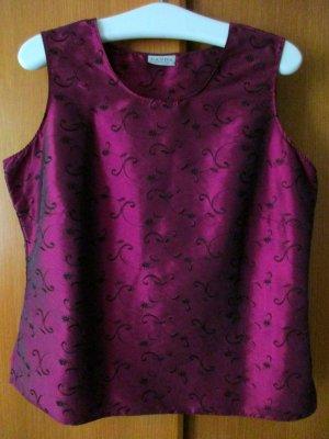 CANDA Damen Damentop Top dunkelrot rot Stickerei festlich glänzend, Gr. 46