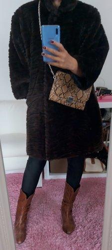 Canda Płaszcz ze sztucznym futrem ciemnobrązowy