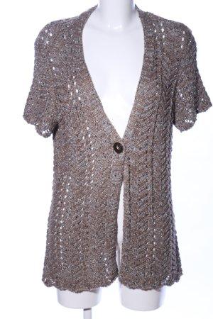Canda Cardigan a maglia grossa bianco sporco-marrone puntinato stile casual
