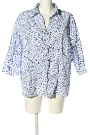Canda Hemd-Bluse weiß-blau Allover-Druck Business-Look
