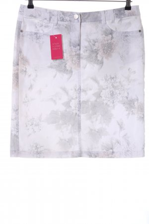 Canda Spijkerrok wit-lichtgrijs bloemenprint casual uitstraling