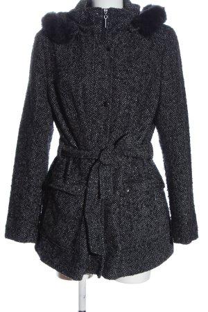 Canda Abrigo con capucha negro Patrón de tejido look casual
