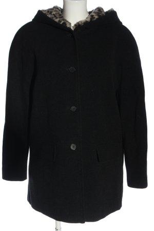 Canda Płaszcz z kapturem czarny W stylu casual