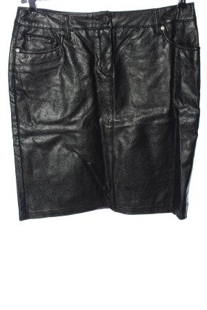 Canda Jupe en cuir synthétique noir style décontracté