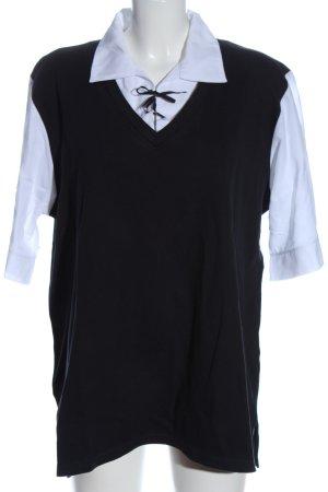 Canda Kurzarm-Bluse schwarz-weiß Business-Look