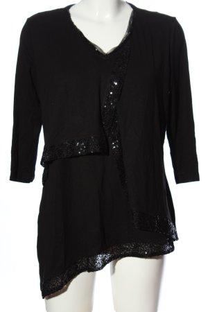 Canda Langarm-Bluse schwarz Glanz-Optik