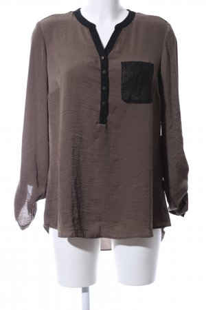 Canda Langarm-Bluse braun-schwarz Casual-Look